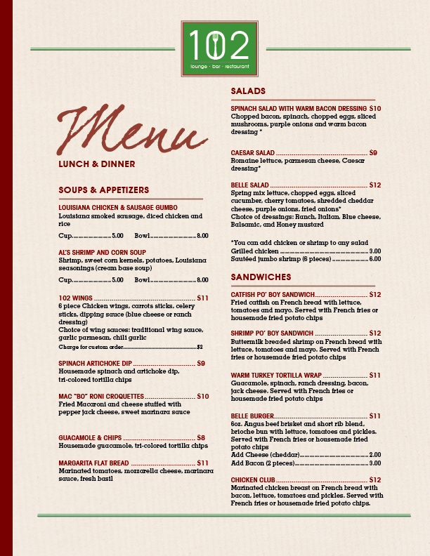 102 Menu items soups, appetizers, salads, sandwiches