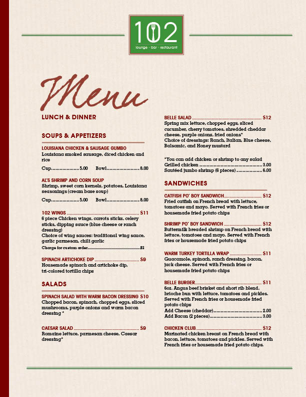 102 Lunch & Dinner Menu