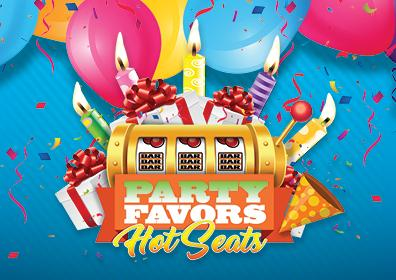 Bright blue background, blue, orange, pink & yellow balloons at the top, underneath artwork with 5 lit candles and presents underneath, part of slot machine showing cherries & bar, bar, bar, under that are the words: PARTY FAVORS Hot Seats.  Artwork is bright, happy and festive.