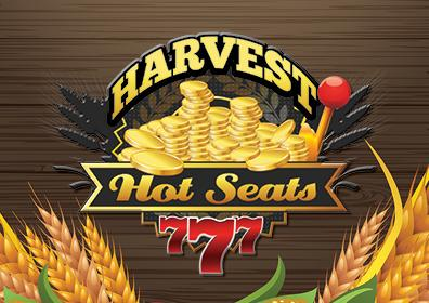 Brown wooden background, stalks of wheat to the right and left of artwork.  In the center is a Harvest Hot Seats Logo.