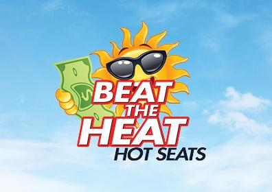 Graphic Design image with blue sky background featuring a cartoon sun holding a dollar bill reading Beat the Heat Hot Seats