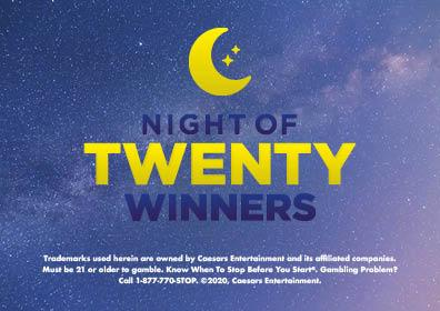 """Graphic Design: Blue nightlike background with crescent moon in center top with yellow and dark verbiage """"Night of Twenty Winners"""" and disclaimer in white on bottom"""
