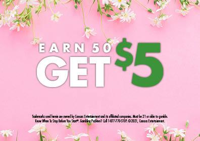 Graphic Design: Pink background with white daisies on top & bottom with Earn 50 Get $5 center in middle over disclaimer on bottom