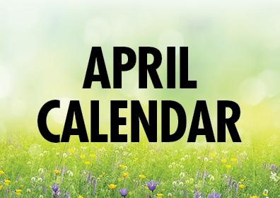 Graphic Design:  Green background with words April Calendar centered over each other in center