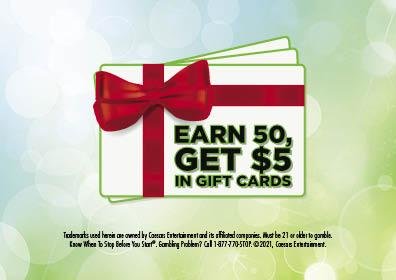 Graphic Design:  Green background with white gift card with red bow words on it read Earn 50 Get $5 in Gift Cards