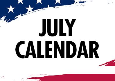 Graphic Design American Flag with the words July Calendar in middle