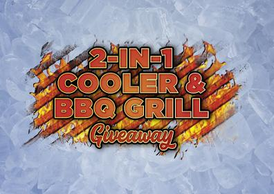 Graphic Design: Icy Blue background with words 2-in-1 Cooler & BBQ Grill Giveaway centered inside BBQ grate