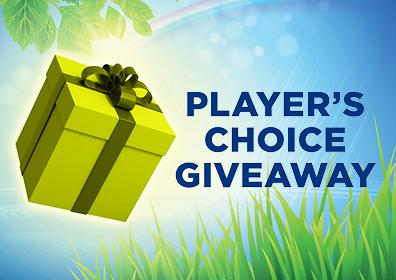 Graphic design:  Gradient background left to right is white to blue.  Green Present on the left with the word's in blue Player's Choice Giveaway