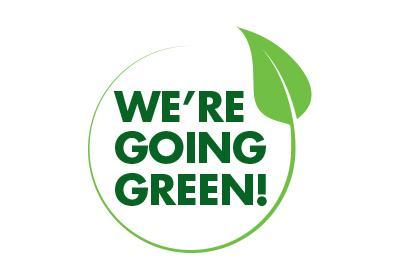 Leaf artwork around We're Going Green text.