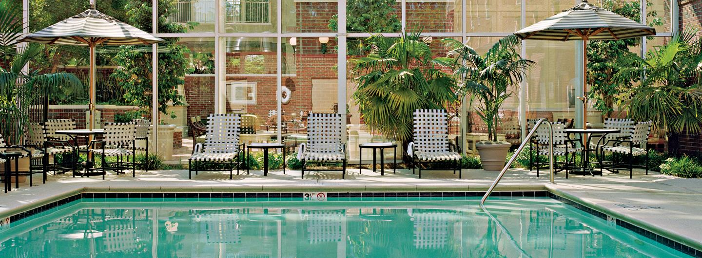 A beaufiful outdoor swimming pool filled with bright blue water is in the center of the photograph, framing the pool are lounge chairs with lush green plants in the background. To the right of the pool you can see steps going into the pool with a silver railing.