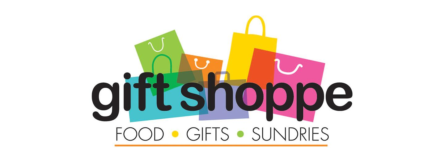 Digital graphic of different colored, shaped, styled and angled gift shopping bags.  The colors are left to right: bright blue, lime green, orange, lavendar, neon yellow, hot pink all of the different sized bags have a handle. On top of  the graphic in lower case letters in black are the words: gift shoppe, under these words in all CAPS are the words, FOOD, GIFTS, SUNDRIES these words are underlined with a bright orange line.