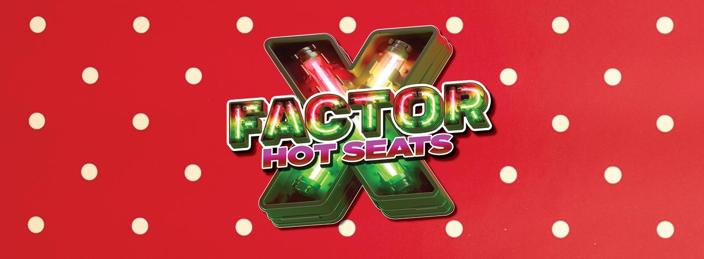 Red background with white polka dots.  Front, centered in green and purple neon lights font is X FACTOR HOT SEATS