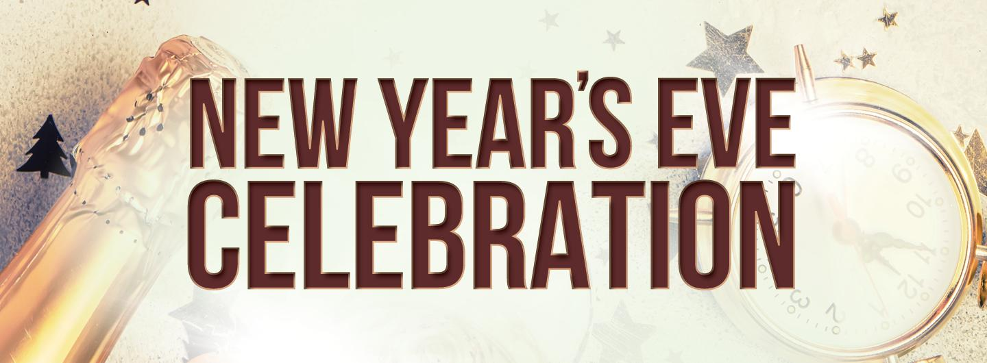 Cream colored background with gold glitter, centered to the front:  NEW YEAR'S EVE CELEBRATION in all caps in brown