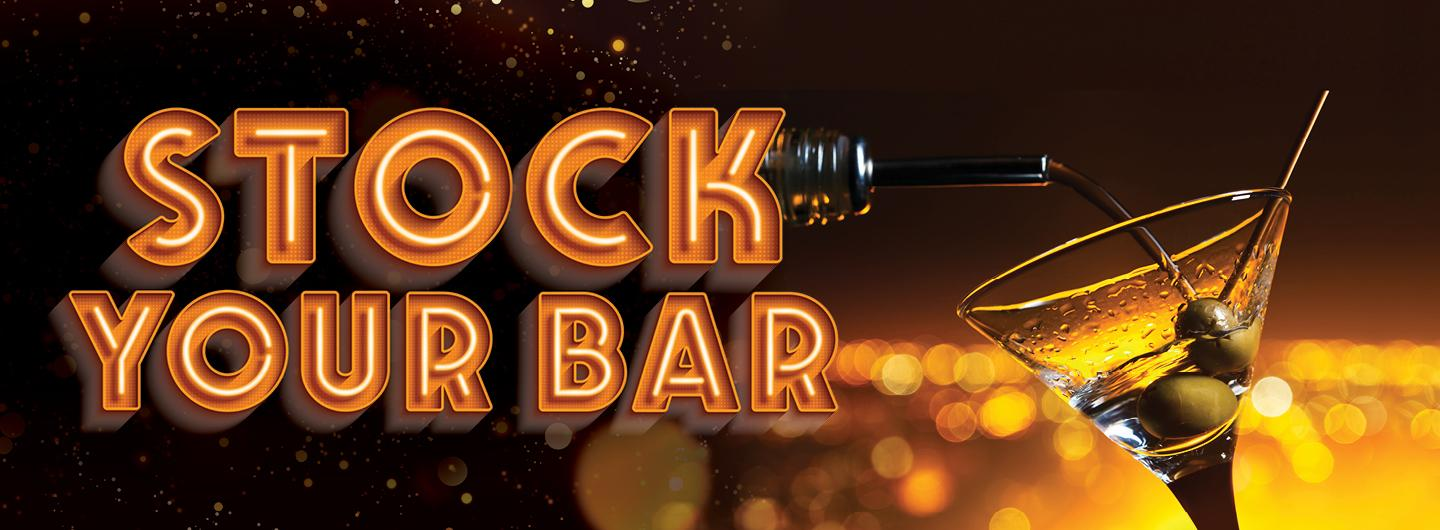 Dark brown background with floating bubbles. A martini glass with olives to the right and to the left in orange, all caps NEON SIGN font is STOCK YOUR BAR
