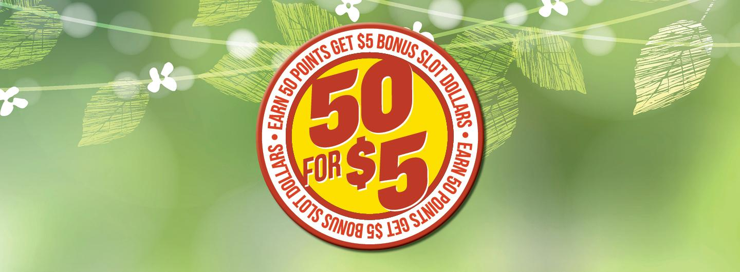 Graphic Design image with green background and promotional logo reading 50 for $5