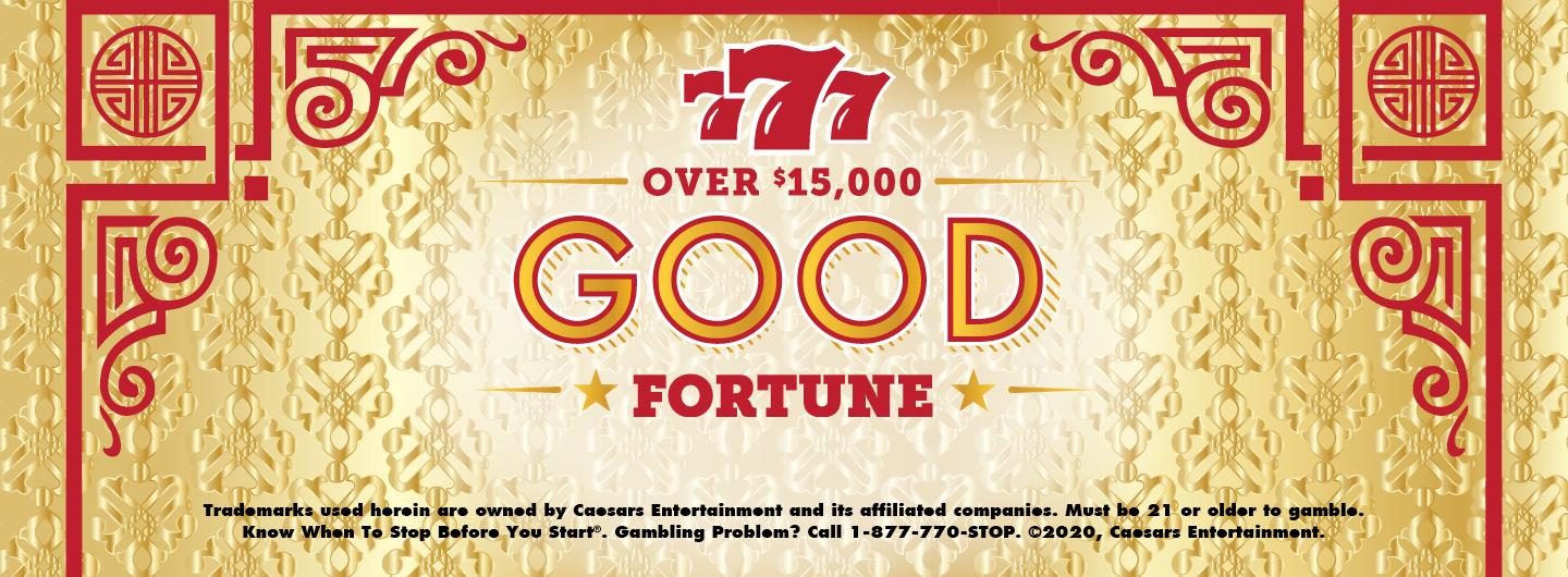 "Graphic Design: Gold background with red oriental trim and red writing ""777 Over $15,000 Good fortune""  Disclaimer in black"