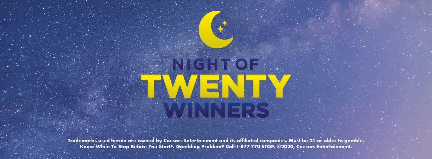 "Graphic Design: Blue nightlike background with crescent moon in center top with yellow and dark verbiage ""Night of Twenty Winners"" and disclaimer in white on bottom"