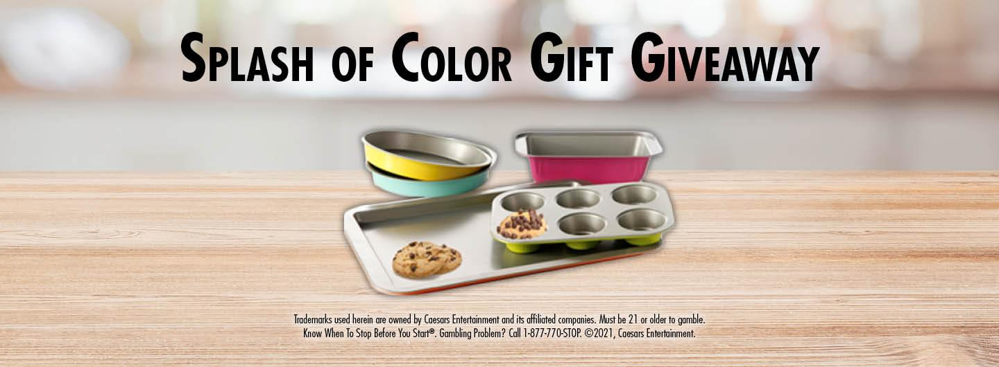 Graphic Design:  Kitchen background with words Splash of Color Gift Giveaway over brightly colored 5 piece backing set with disclaimer on the bottom