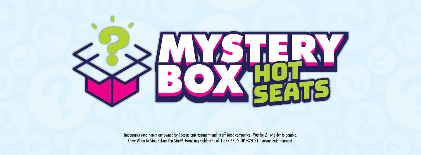 Graphic Design: light blue background with lighter blue question marks within  Centered in middle is a box with a question mark coming out of it and the words Mystery Box Hot Seats to the right of it with disclaimer center below all.