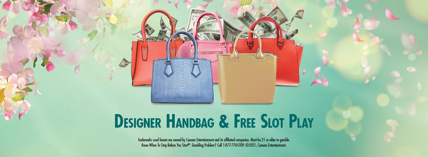 Graphic Design:  Green background with cherry blossoms on the left with money coming out of purses with words Designer Handbag & Free Slot Play & disclaimer in the center