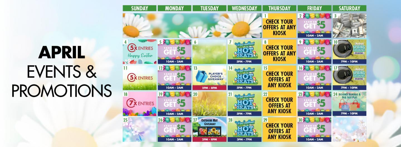 Graphic Design: April Calendar Events listed
