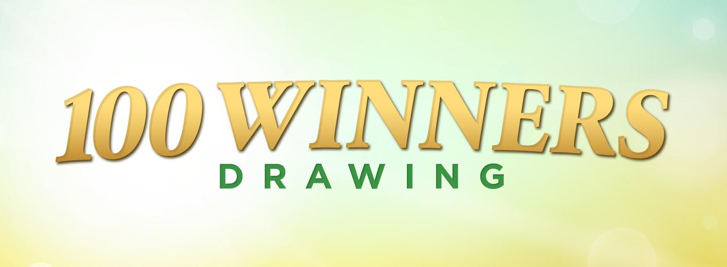 Graphic Design:  100 Winners Drawing on gradient background from blue to yellow.