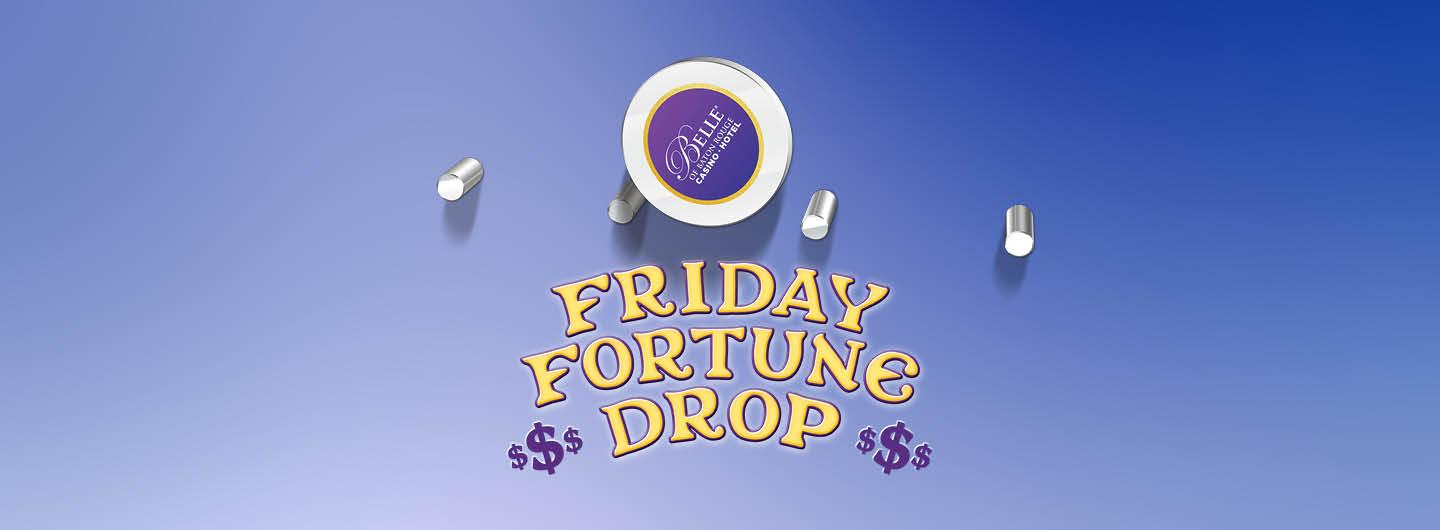 Graphic Design: Blue background of Plinko board with circular image with Belle of Baton Rouge within it.  Underneath image are the words Friday Fortune Drop