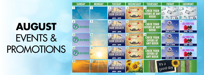 Graphic design:  August Calendar Events & Promotions Calendar