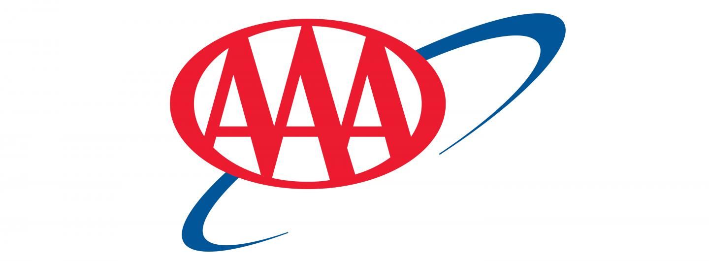 Triple A Logo which consists of a white background with three capitalized red As centered in a horizontal oval.  To the right behind the triple A oval is a royal blue semi oval swirl, it is not a closed oval shape.