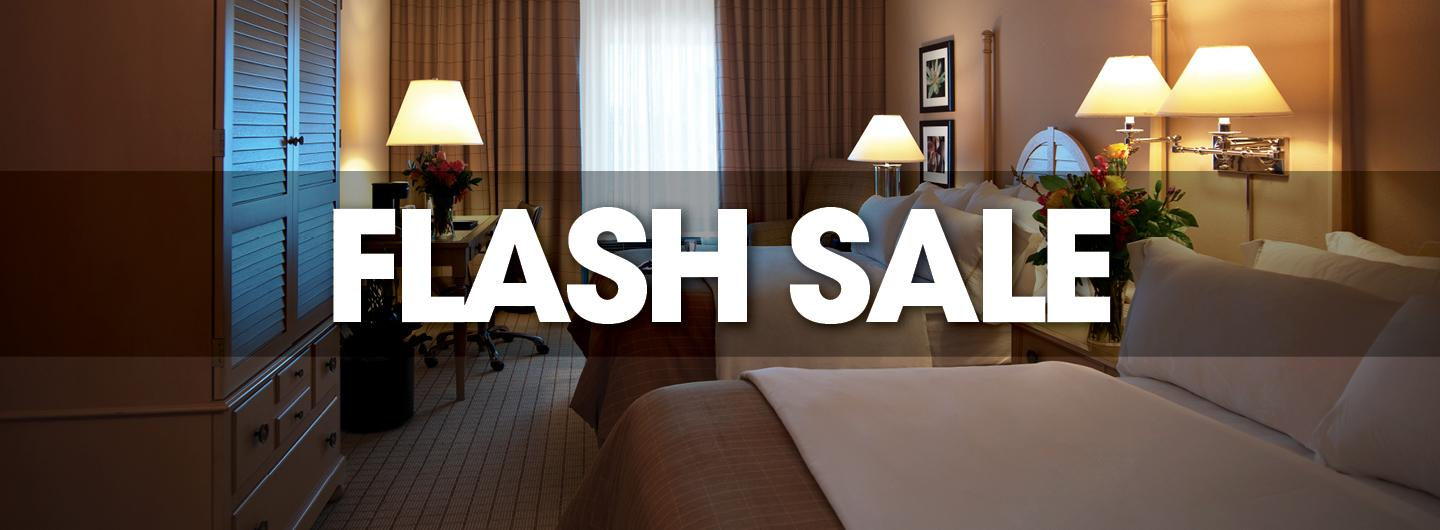 Background is picture of standard hotel room with double beds to the right of the image, window to the rear and desk to the left.  Centered in white, all caps FLASH SALE.