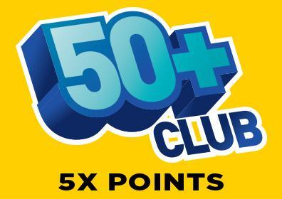 50+ 5X points