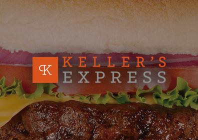 A hamburger with Keller's Express branding overlaid