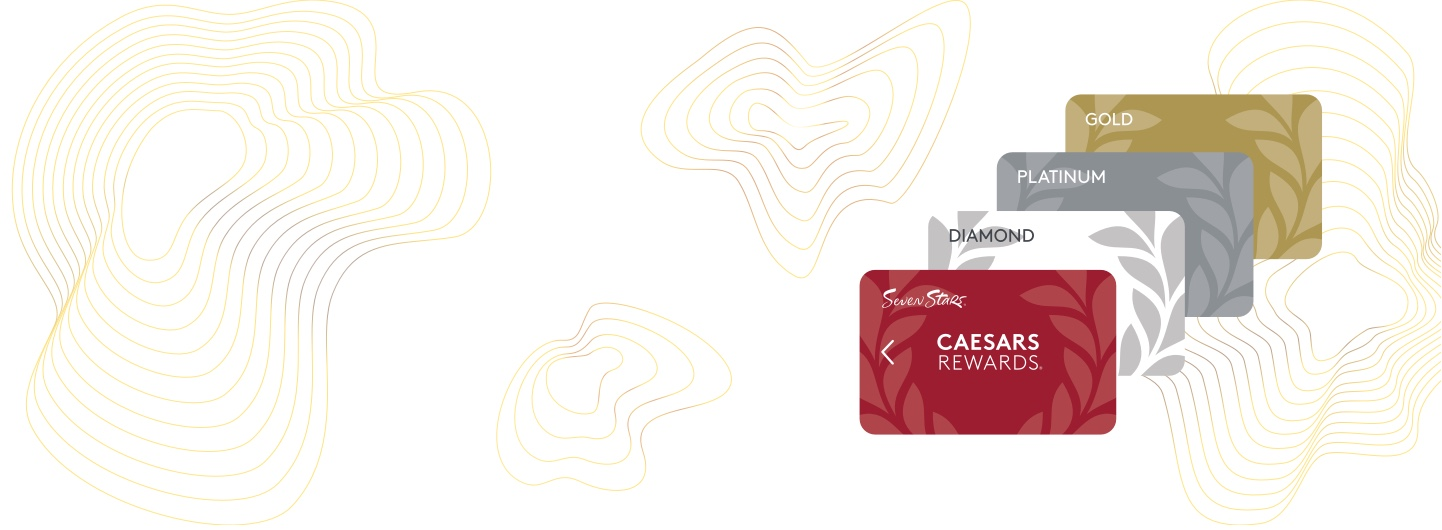 Layered Caesars Rewards cards on textured background