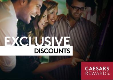 """A group of friends playing a slot machine with text saying, """"Exclusive Discounts"""" and """"Caesars Rewards"""""""