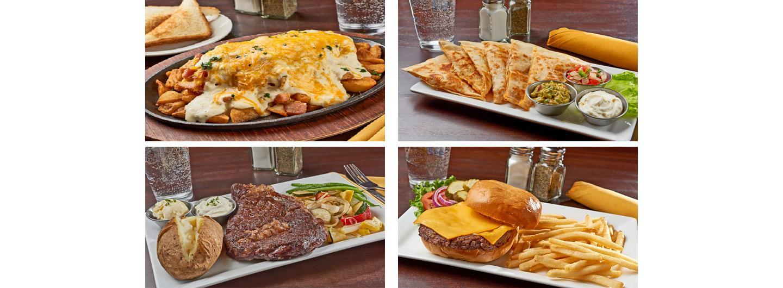 skillet, steak, quesadilla, cheeseburger