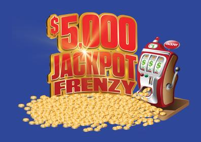 jackpot frenzy with  slot machine and gold coins