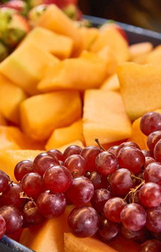 melon and grapes