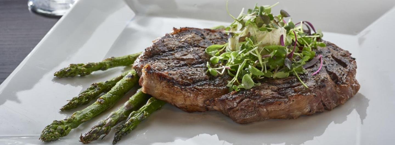 Steak and asparagus dinner hero image