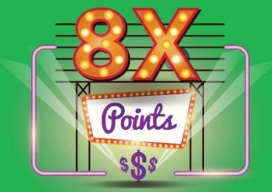 8x points logo