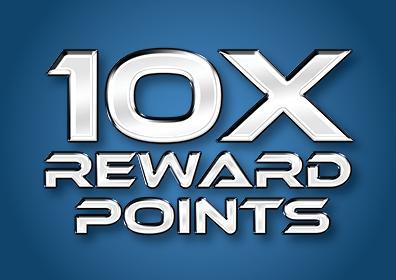 10X Reward Points Multiplier blue logo