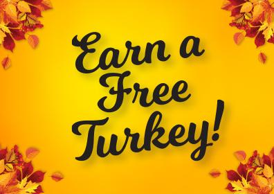 Earn for a free turkey logo