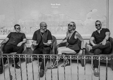 Champagne Fixx band photo in black and white