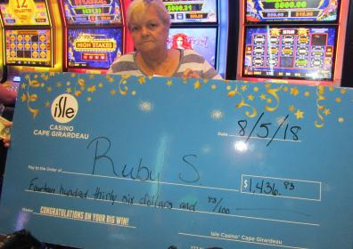 Ruby S and her $1,436.83 jackpot check