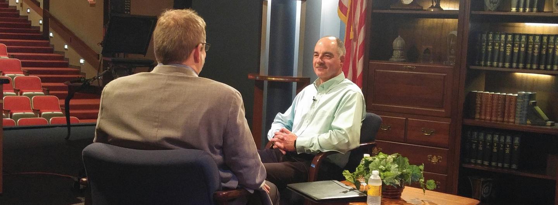 Roger being interviewed