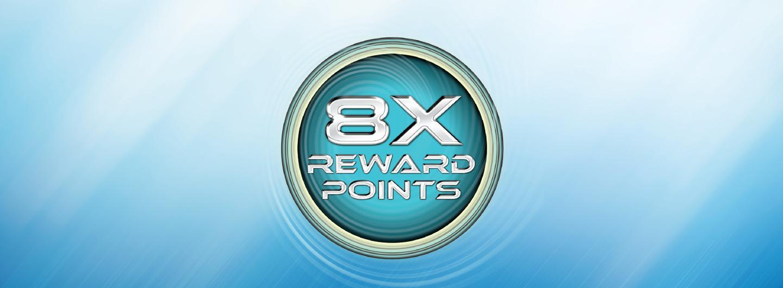 8X reward point multiplier logo