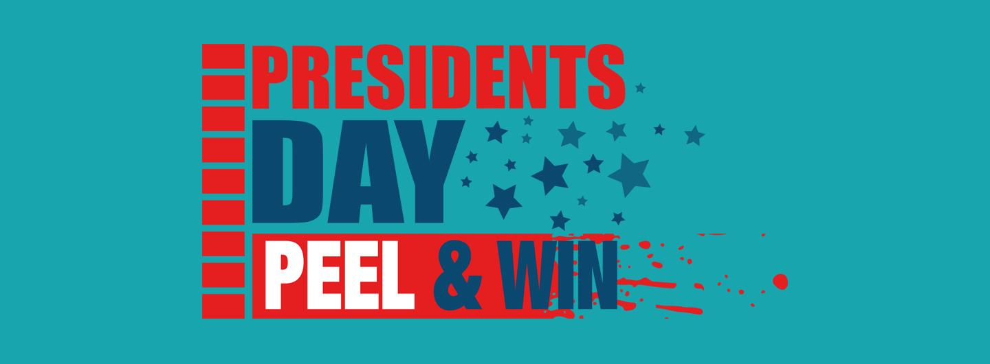 Presidents' Day Peel and Win logo