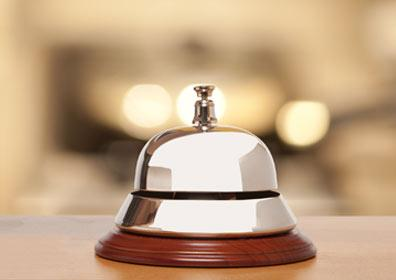 A bell at the front desk for guest services
