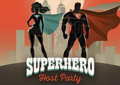 Superhero Host Party Logo