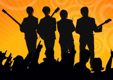 Silhouette of The Fab Four and Crowd Cheering