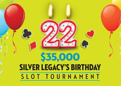 $35,000 Silver Legacy 22nd Birthday Slot Tournament Logo with Balloons
